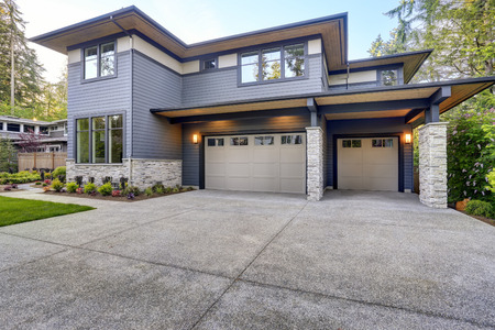 New Construction Home Exterior With Contemporary House Plan .. Stock ...