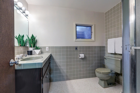 Contemporary bathroom features soft gray walls on top half of walls and gray subway tiles cover bottom half of wall. Northwest, USA