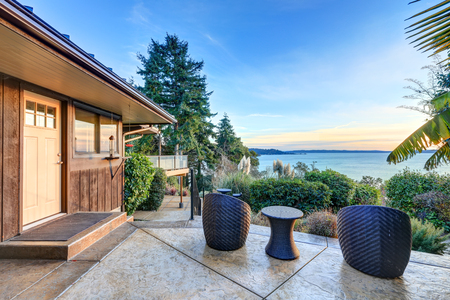 puget: Modern two story panorama house with of Puget Sound view.  Northwest, USA Stock Photo
