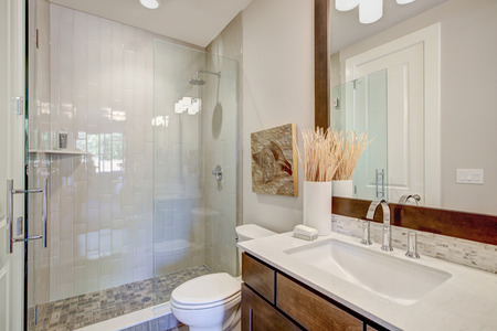 Das moderne Badezimmer verfügt über einen Waschtisch mit einem rechteckigen Waschbecken unter einem großen gerahmten Spiegel und einer ebenerdigen Glasdusche, die mit einer vertikalen Duschkabine betont wird. Nordwesten, USA Standard-Bild - 89990202
