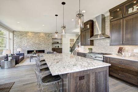 Cuisine de luxe rehaussée d'un grand îlot de cuisine en granit, d'un dosseret de tuiles taupe, d'armoires en bois brun naturel et d'appareils électroménagers haut de gamme en acier inoxydable. Nord-ouest, États-Unis
