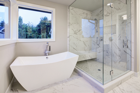 Sleek bathroom features freestanding bathtub atop marble floor placed in front of glass shower accented with rain shower head and gray and white marble surround. Northwest, USA