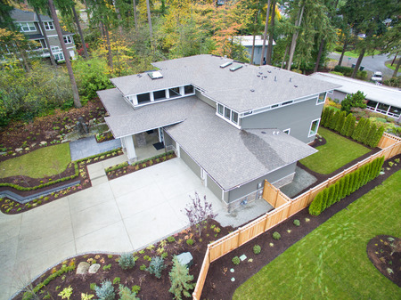 Aerial view of new construction home in residential area of Bellevue downtown. Northwest, USA