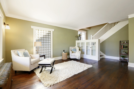 Chic green living room with built-in bookshelves, crown molding and fir floors.  Reklamní fotografie