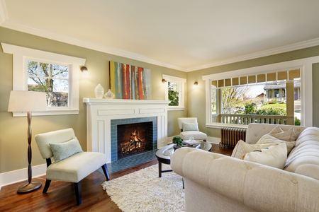 Lovely green living room with built-in bookshelves, crown molding and a wood burning fireplace. Northwest, USA.
