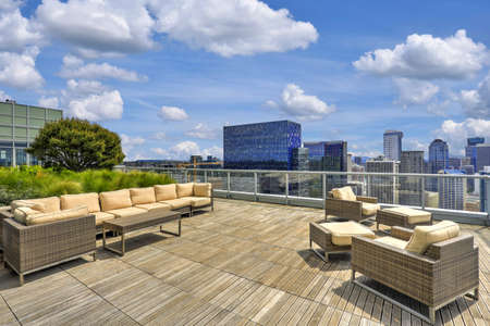 View of sky lounge on the roof of high-rise apartment building. Picturesque cityscape of Seattle. Northwest, USA