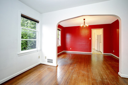 Newly remodeled craftsman house interior with arched doorway.