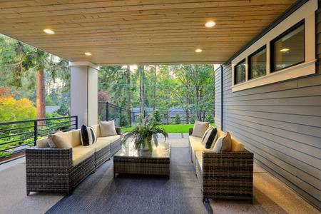 Luxury covered patio with cozy interior Stockfoto