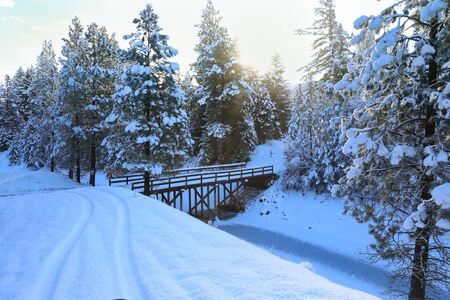 SNow covered beautiful old American rustic country side landscape with bridge, trail and water canal. Peaceful and inspiring. Banque d'images - 142944143