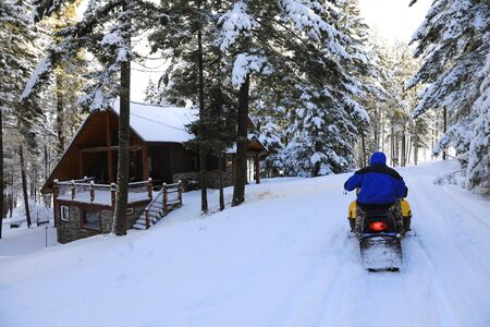 Man riding snowmobile in the mountains with pine trees and houses.