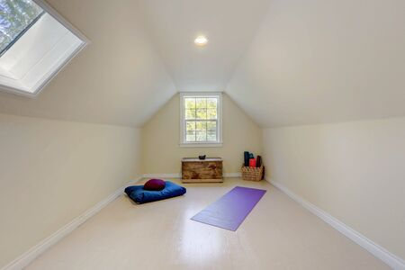 Simple attic room with light walls and sky light with yoga and meditation set up.
