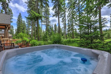 Open hot tub in the back yard with forest and golf course near luxury homes. Zdjęcie Seryjne