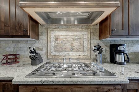 Beautiful kitchen interior stove and hood details.