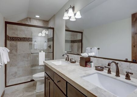 Classic simple small bathroom interior detailes walk in shower with natural stone
