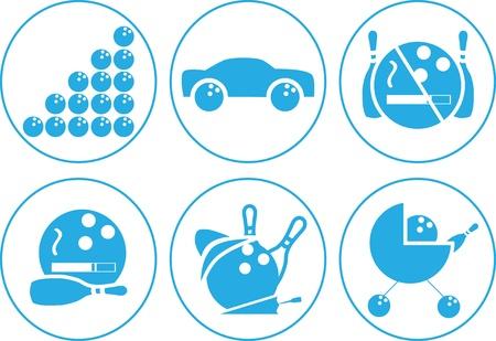 kleedkamer: De zes pictogrammen op bowling trappen, parking, niet roken, roken, kleedkamer, kwekerij