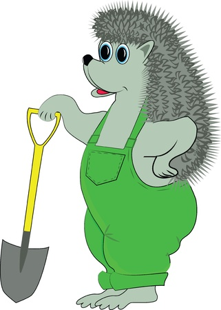 Funny hedgehog character builder with a shovel Vector