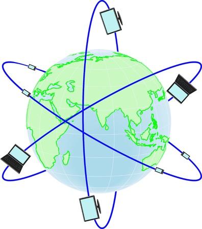 cable de red: Una red de productos de tecnolog�a de todo el mundo aislado sobre fondo blanco