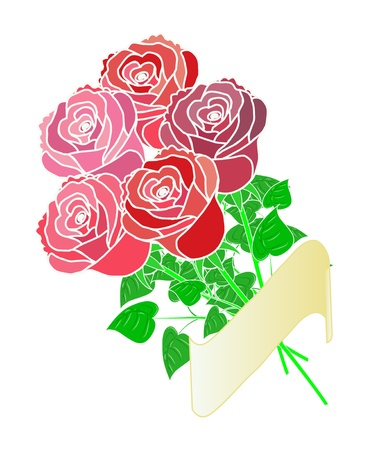 Bouquet of five roses with your text Illustration