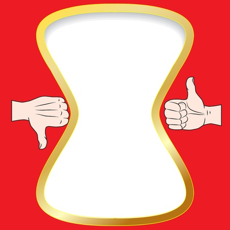 gold frame on a red background for comments Illustration