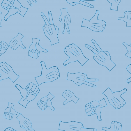 Vector seamless texture of gestures on a blue background Stock Vector - 15083628