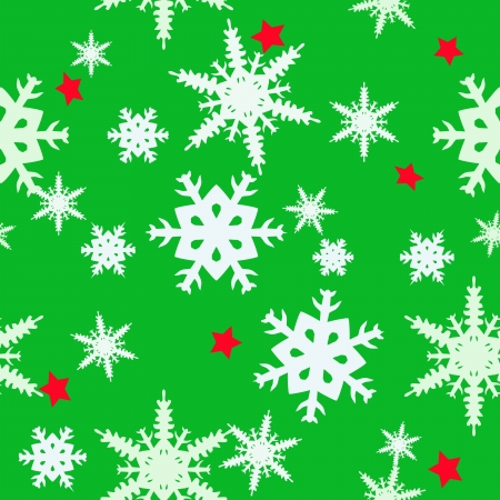Christmas abstract green background with different blue snowflakes and red stars