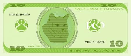 money cat: imagen c�mica de dinero gato Vectores
