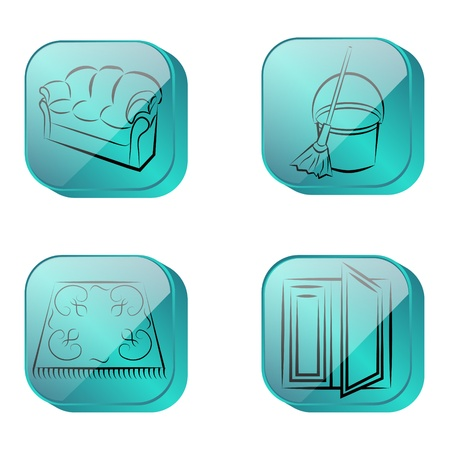 cleaning, four icons blue Vector