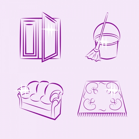 cleaning, four icons lilac Vector