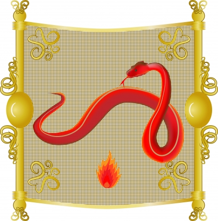 an image of the snake, the fire on the eastern calendar Vector