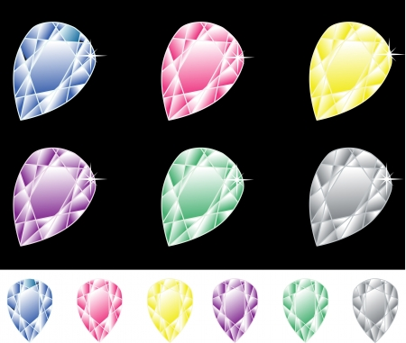zircon: six precious stones of different colors on a black and white background Illustration
