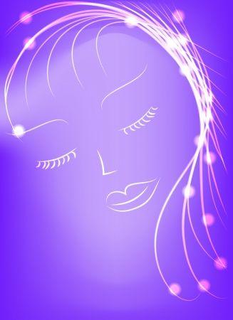 Abstract violet background of glowing lines and dots Vector