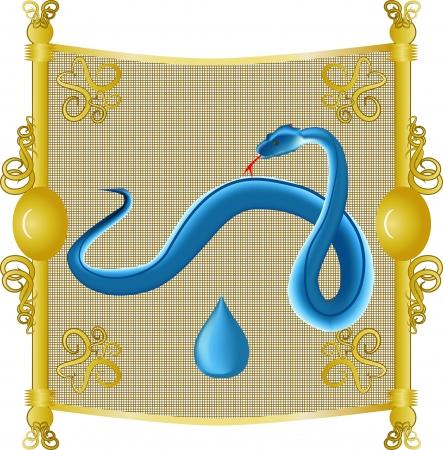 snake calendar: an image of the snake, the water on the eastern calendar