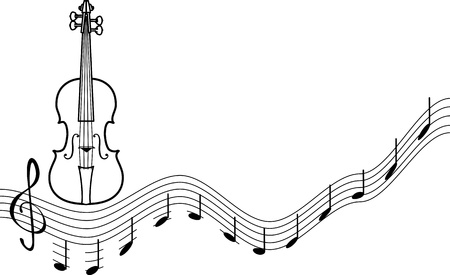 instrumental: background with a number of musical treble clef isolated on white