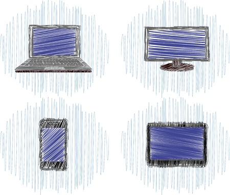 Set of four  icons drawn in pencil on digital technology
