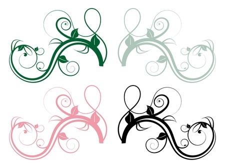 виньетка: Набор из четырех красочных цветочных мутовки ветвей Иллюстрация