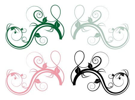 baroque border: set of four colorful floral whorls of branches Illustration
