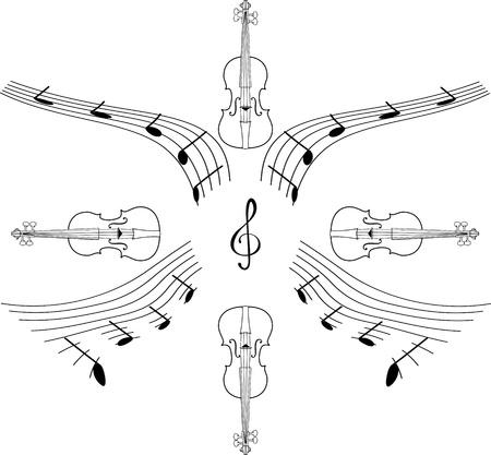 chiave di violino: sfondo con una serie di musical chiave di violino e violino isolato su bianco Vettoriali