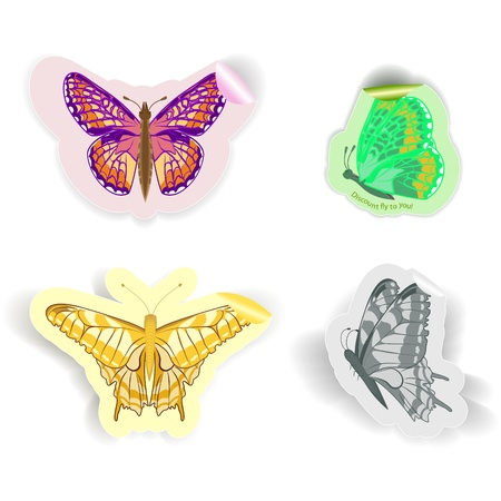 a set of four stickers in the form of butterflies of different colors Stock Vector - 16057028