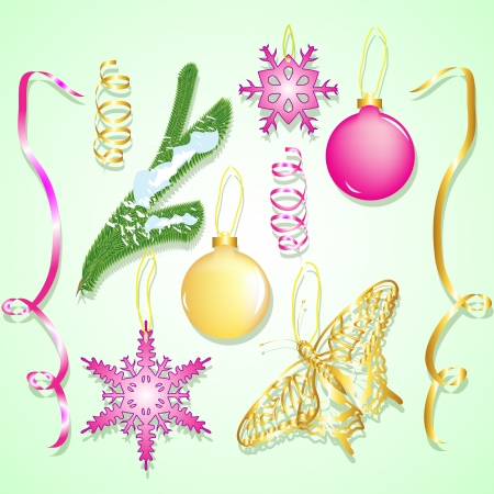 set of Christmas ornaments and design elements Vector