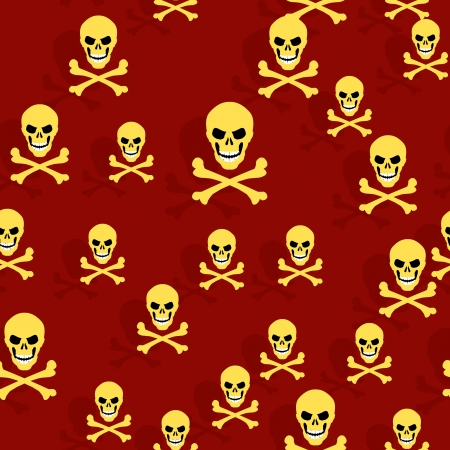 seamless texture, gold skull and crossbones, without gradients and transparencies Vector