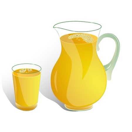 orange juice glass: brocca e bicchiere di bevanda arancione isolato su bianco