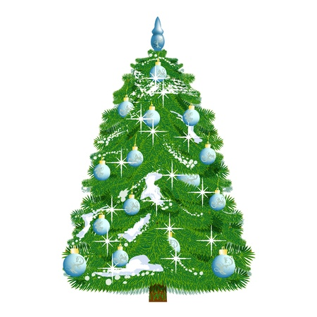 snowcovered: realistic snow-covered Christmas tree decorated with blue balloons isolated on white Illustration
