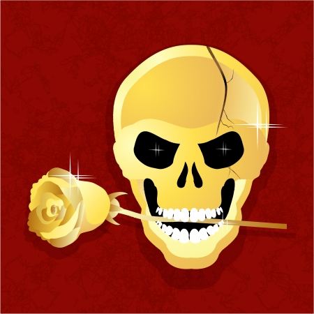 golden skull with a rose in his teeth for the Reds against Illustration