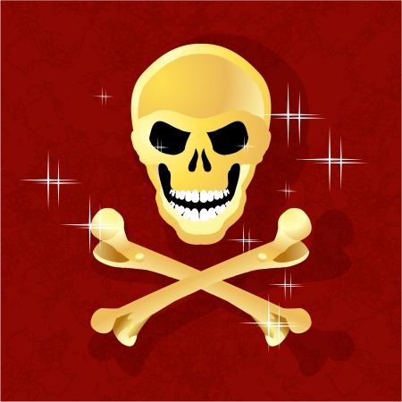 gold skull and crossbones on the Reds background Stock Vector - 16057069