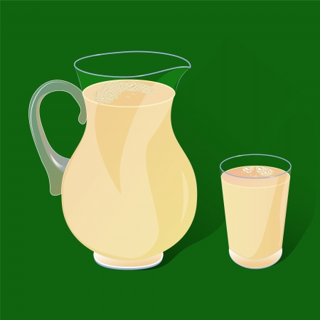 pitcher and a glass with a drink in the green Vector