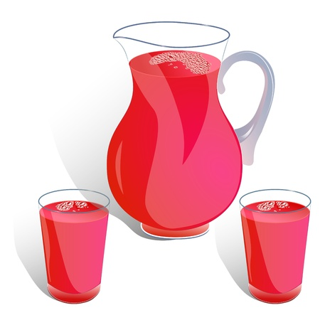 bocal: jug and two glasses of juice isolated on white�