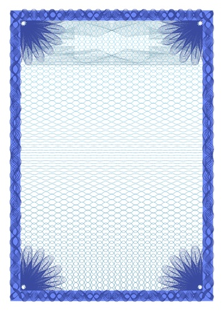 Guilloche frame for the certificate, portrait format A4, without gradients and transparencies Vector