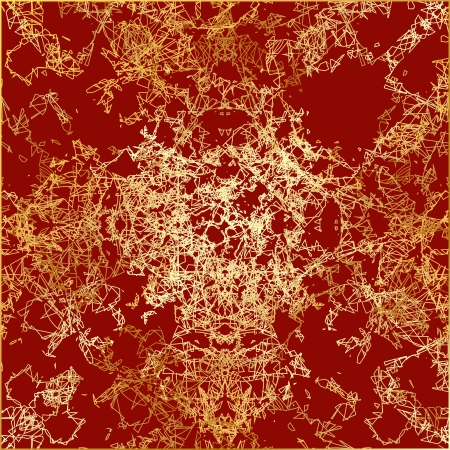 texture gold thread on a red background