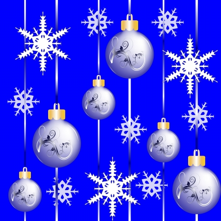 Christmas continuous texture with snowflakes and Christmas balls Stock Vector - 16056923