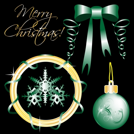 set of Christmas ornaments and Christmas design elements isolated on black Vector